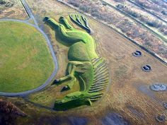 """This land sculpture's name is """"Sultan"""" and is located in Penallta Parc, Caephilly, Wales. It was carved from a former coal tip and is the UK's largest figurative earth sculpture."""