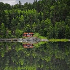 little red house on a lake...