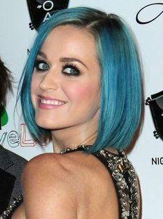 Katy Perry Blue Bob Hairstyle