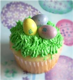 Easy Easter Nest Cupcakes with M&M's.