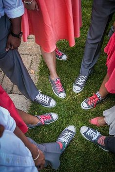 Gray and coral wedding. Girls and the guys wore chucks!