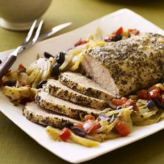A Greek seasoning mixture gives this pork roast recipe it's Mediterranean interest. Flavors meld together as it simmers in the slow cooker.