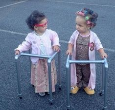 These two best friends wanted to dress up like their grandmas for Halloween. Hope they aren't calling their grannies scary!
