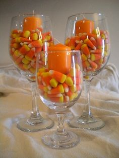 Candy corn in glasses