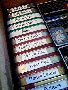 upcycle and organize with altoid tins could do this with all thos eclipse tins