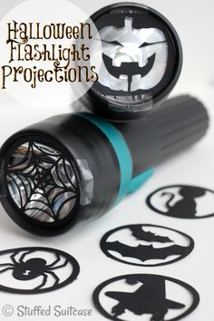 DIY Halloween Flashlight Projections made with Cricut Explore -- The Stuffed Suitcase.