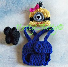 Despicable Me Minion Fot Girl  Crochet Hat,boots and Diaper Cover and bow, Minion Halloween costume, Despicable me minion baby costume on Etsy, $24.99