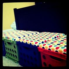 classroom seating and storage I made. crates cost less than $4 at wal-mart.
