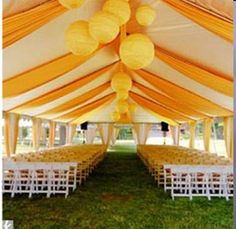 Wedding tent draping. Also love the chinese lanterns.