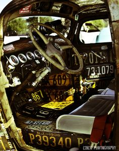 Interior panels made from old license plates
