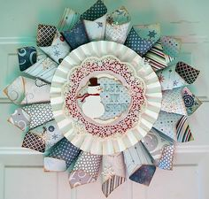 #DIY wreath out of scrapbook paper