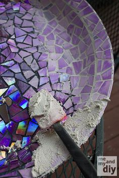 DIY Mosaic Tile Birdbath using Recycled DVDs