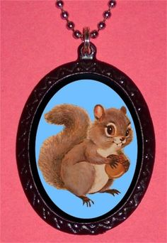 Squirrel Woodland Creature Kitsch Illustration Kawaii Necklace Pendant NEW