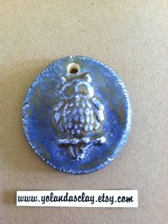 Mossy Green and Blue Owl Pendant from Earthenware by yolandasclay, $10.00