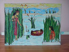 Where's Moses? You can slide Moses from the bullrushes to Pharoah's daughter - Sunday School Crafts