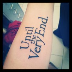 And this is it. Ive been thinking about my first tatto for ages, and now here it is. Perfect and beautiful. The font is the one used in the book ;)
