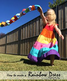 Rainbow Dress - Learn how to make a rainbow maxi dress for your little girl ~ Threading My Way