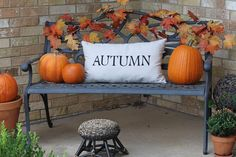 Autumn pillow on bench--flips to say Winter!