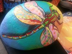 Painted dragonfly rock. Use outdoor paint to display in garden