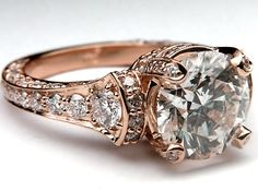 Large Cathedral Graduated pave Diamond Engagement Ring Rose Gold - ES745BRRG