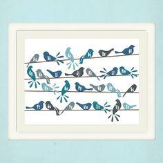 Girls or Boys Nursery Art Birds on a Wire by pitterpatterpress, $24.00