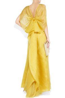 Valentino bow-back silk-organza gown