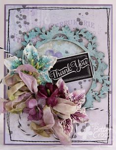 Card by Patter Cross using the new Blue Fern Studios Ombre Dreams papers and the Lace Rounds chipboard.