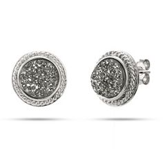 Sterling Silver Cabled Gray Drusy Earrings $35