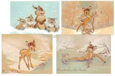 Amazon.com - Disney Bambi 24 Assorted Christmas Holiday Cards with Envelopes.  You could cut these up and use them in frames, as invitations, or for other decorations.