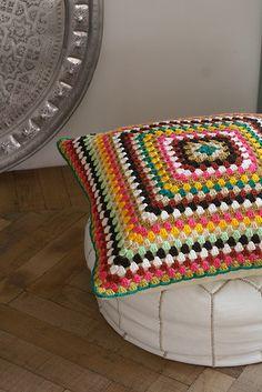 Crochet, granny square pillow