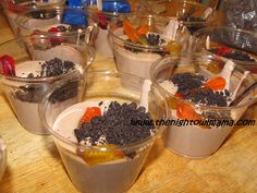 Delicious Chocolate Jell-o Pudding Cups with Gummy worms. My kids loved these! Great treat for Halloween!