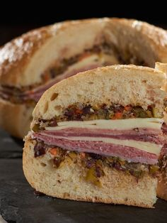 """What's Your Best """"Company's Coming"""" Sandwich? Reubens? Meatball Sandwiches?  Check out my #recipe for a #NewOrleans favorite, #muffuletta #sandwich."""