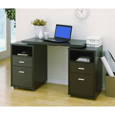 Cappuccino 4-drawer Extendable Office Desk | Overstock.com