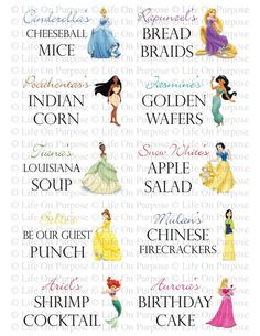 Is it bad i want to design the girls' next party around these?? Princess Party Food Tags by lifeonpurpose on Etsy, $5.00 birthday parti, food tag, disney princesses, party stuff, princess parti, disney princess party food, parti food, parti idea, disney princess food ideas