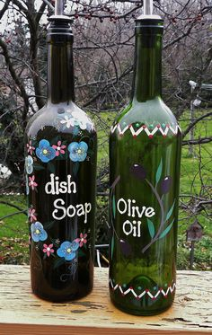 Wine Bottle olive oil Dispenser with Pouring Spout~~ Just because I know a lot of people that drink wine... This is cute. :)