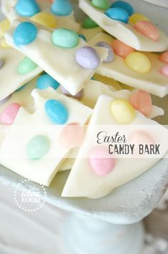 Easter bark. Just melt white chocolate, spread in pan lined with parchment paper, and sprinkle with favorite Easter candy!!! How cool!
