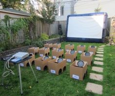 backyard drive in movie kids party