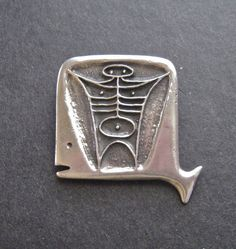 Vintage Modernist Sterling Brooch Jonah and the Whale