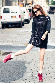 Sneakers and sequins.
