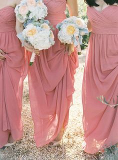 Bridesmaids - Dresses by Monique Lhuillier. See the wedding on SMP: http://www.StyleMePretty.com/2014/03/10/peach-inspired-farm-wedding-at-carneros-inn/ Jen Huang Photography