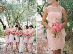 The most gorgeous blush bridesmaid dresses, The Windmill Winery, AZ wedding venue, Brushfire Photography