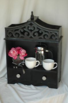 Shabby Chic display unit black by theREDaccent on Etsy, $45.00 display unit, shabby chic, unit black, shabbi chic, shabbi blue, blue furnitur, shabbi black, chic display
