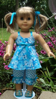 American Girl doll clothes  Aqua/White Capri Top by susiestitchit, $18.00