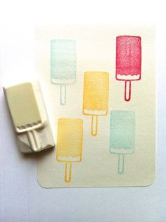 ice cream stamp. hand carved rubber stamp. hand by talktothesun, $7.00