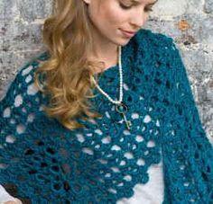 Free Crochet Pattern Graceful Shell Shawl From RedHeart.com #82