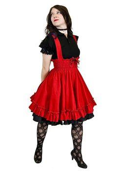 Gothic Lolita Dress - Japanese Jumper - Red cotton Skirt-JSK cotton jumper, fashion, cloth, style, red cotton, dresses, jumpers, gothic lolita, lolita red