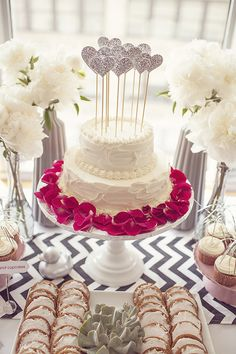 Glittering Silver Hearts Cake Toppers