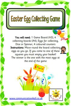 Easter egg collecting board game. Pupils work around the board collecting eggs for their baskets.