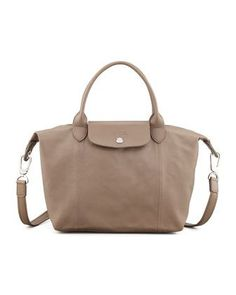 Le Pliage Cuir Small Handbag with Strap, Gray by Longchamp at Neiman Marcus.