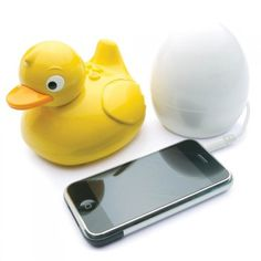 Plug your iPod into the egg. Then the duck plays your music on the shower wirelessly (and it's waterproof). I WANT IT!